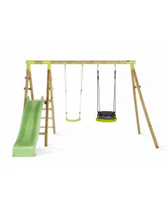 Plum Premium Double Swing with Slide [Lime] Glide Nest & Swing Seat