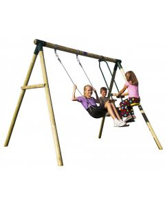 Plum Lemur Wooden Swing Set